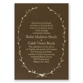 Naturally Beautiful - Brown Shimmer - Foil Invitation