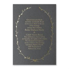 Naturally Beautiful - Black Shimmer - Foil Invitation