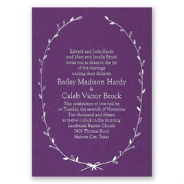 Naturally Beautiful - Purple Shimmer - Foil Invitation