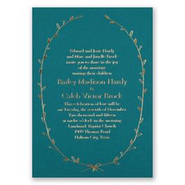 Naturally Beautiful - Teal - Foil Invitation