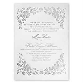 Feathered Floral - White - Featherpress Invitation