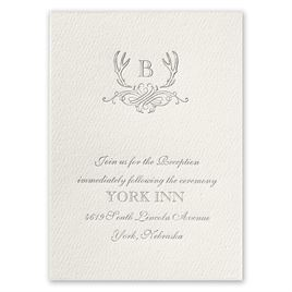 Antler Crest - Ecru - Featherpress Reception Card