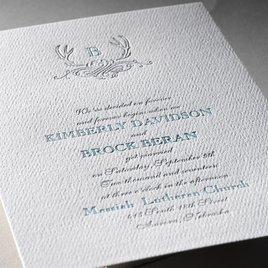 Antler Crest - White - Featherpress Invitation