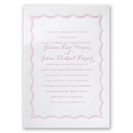 Scalloped Lace - White - Featherpress Invitation