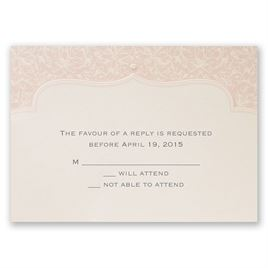 Faded Pink Filigree - Response Card and Envelope