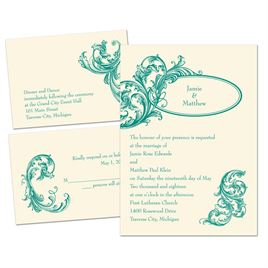 Posh Flourish - Ecru - 3 for 1 Invitation