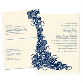 Lacy Details - Ecru - 3 for 1 Invitation