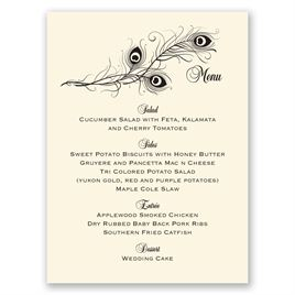 Framed in Feathers - Ecru - Menu Card