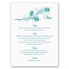 Framed in Feathers - Menu Card