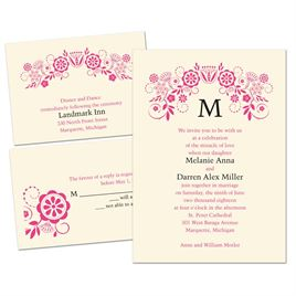 Modern Whimsy - Ecru - 3 for 1 Invitation