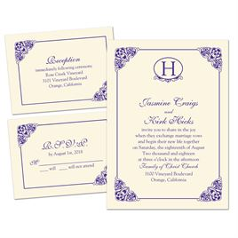 Elegant Finish - Ecru - 3 for 1 Invitation