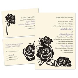 Lavish Rose - Ecru - 3 for 1 Invitation