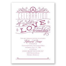 Rehearsal Dinner Invitations: Love and Friendship Rehearsal Dinner Invitation