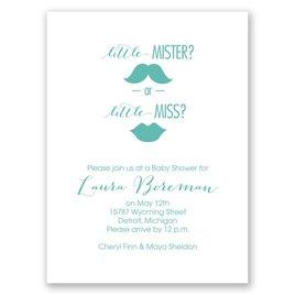 Gender Reveal Invitations: Mister or Miss Petite Baby Shower Invitation