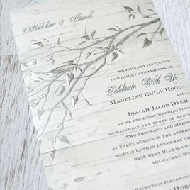 Silver Branches - Foil Seal and Send Invitation