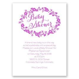 Baby Girl Shower Invitations: Floral Frame Petite Baby Shower Invitation
