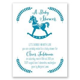 Boy Shower Invitations: Rocking Horse Petite Baby Shower Invitation