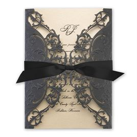 luxury wedding invitations royal details black shimmer laser cut invitation - Luxury Wedding Invitations