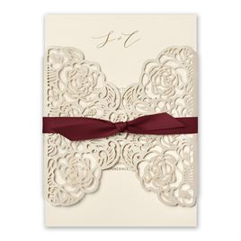 Bed of Roses - Burgundy - Laser Cut Invitation