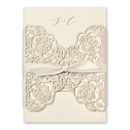 Bed of Roses - Ecru - Laser Cut Invitation