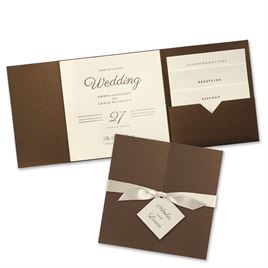 Modern Sophistication - Brown Shimmer Invitation Pocket