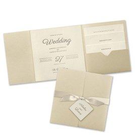 Modern Sophistication - Gold Shimmer Invitation Pocket
