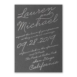 Exquisite Penmanship - Black Shimmer - Foil Invitation