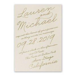 Exquisite Penmanship - Ecru Shimmer - Foil Invitation