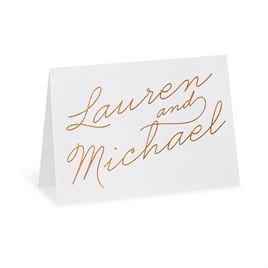 Exquisite Penmanship - White Shimmer - Foil Thank You Card