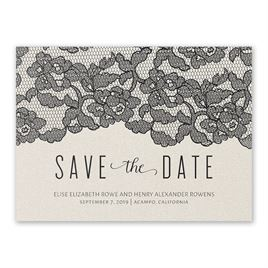 Lace Reflections - Ecru Shimmer - Foil Save the Date Card