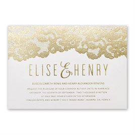 Lace Reflections Foil Invitation