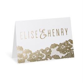 Lace Reflections - White Shimmer - Foil Thank You Card