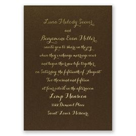 Simply Stunning - Brown Shimmer - Foil Invitation