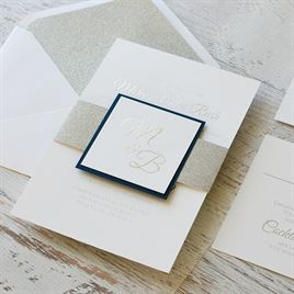 Layers of Luxury - Navy - Silver Foil Invitation