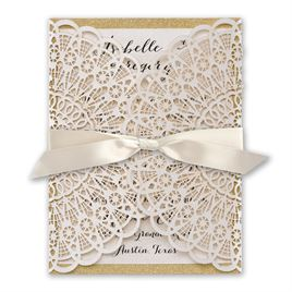 Rustic Glam - Laser Cut and Real Glitter Invitation