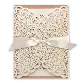 Attractive Shabby Chic Wedding Invitations: Rustic Glam Rose Gold Laser Cut And Real  Glitter Invitation