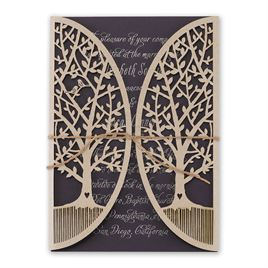 Natures Gateway - Eggplant -  Foil and Laser Cut Invitation