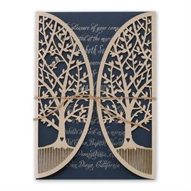 Natures Gateway - Navy -  Foil and Laser Cut Invitation