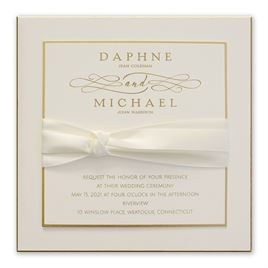 Elegant Wedding Invitations: Satin And Gold Invitation