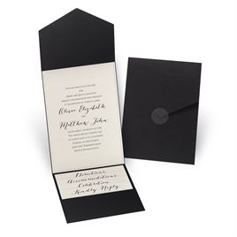 Luxe Elegance - Ecru Shimmer - Black Pocket Invitation