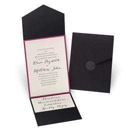 Luxe Elegance - Fuchsia - Black Pocket Invitation