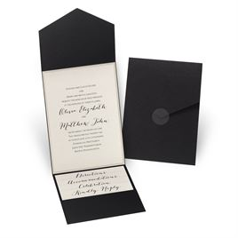 Wedding Invitation Packages.Luxe Elegance Black Pocket Invitation