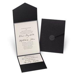 Luxe Elegance - Pewter - Black Pocket Invitation