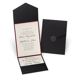 Luxe Elegance - Red - Black Pocket Invitation