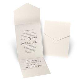 Luxe Elegance - Ecru Shimmer - Ecru Shimmer Pocket Invitation