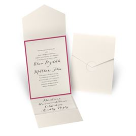 Luxe Elegance - Fuchsia - Ecru Shimmer Pocket Invitation