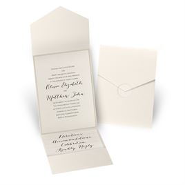 Luxe Elegance - Gold Shimmer - Ecru Shimmer Pocket Invitation