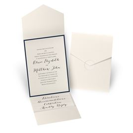 Luxe Elegance - Navy - Ecru Shimmer Pocket Invitation