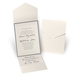 Luxe Elegance - Pewter - Ecru Shimmer Pocket Invitation