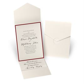 Luxe Elegance - Red - Ecru Shimmer Pocket Invitation
